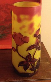 1920 Emile Galle' Vase  Acid Etched Cameo