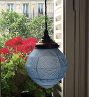 Art Deco Ceiling Lamp Blue Frosted Glass