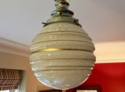 Art Deco Large Ceiling Globe Striped Opaline