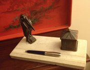 Art Deco Pen and Inkwell Pelican Bronze on Marble