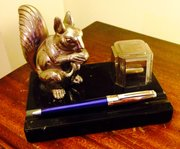 Art Deco Squirrel and Inkwell Chrome  on Black Gra