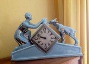 Art Deco Odys 30   Mantel Clock Lady and Dog