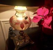 Art Nouveau Enamelled Converted oil Lamp