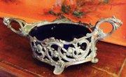 Art Nouveau Jardiniere Fruit Dish Silvered Bronze