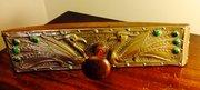 Art Nouveau Oak Brass and Cabochons Blotter