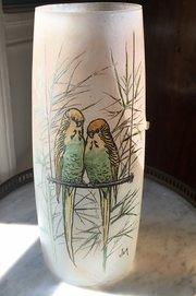 Art Nouveau Signed Vase Love Birds Hand Painted