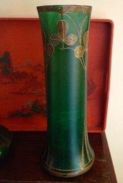 Art Nouveau Tall Green Vase