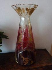 Art Nouveau Vase Cranberry and Gold