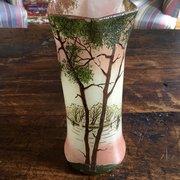 Art Nouveau Vase Enamelled & Hand Painted Opaline