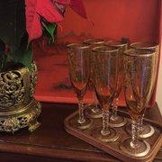 Champagne Flutes Murano Venetian Scene 1900