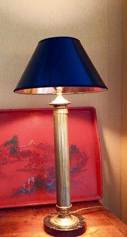 Classic French Column Desk Lamp Brass on Granit