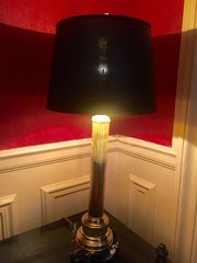 Classic French Obelisk Brass Table Lamp 1900