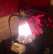 Edwardian Adjustable Desk Lamp Brass and Cranberry