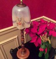 Edwardian Table Lamp Golden Oak and Opaline