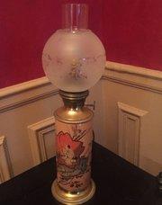 Enamelled Edwardian japanned Converted Oil Lamp