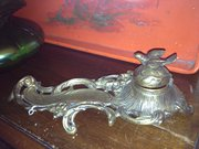 French Art Nouveau Inkwell in Bronze