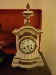 French Art Nouveau Marble Ormulu Mantel Clock