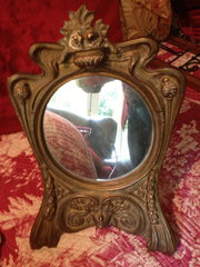 French Art Nouveau Table Mirror in Bronze