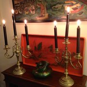 Imposing Pair Arts & Crafts Candlesticks Bronze
