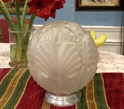 Large Art Deco Table/ Ceiling  Globe Frosted Glass