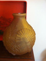 Large Art Deco Amber Vase in Frosted Glass