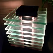Modernist Cubic Table Lamp Glass on Mahogany