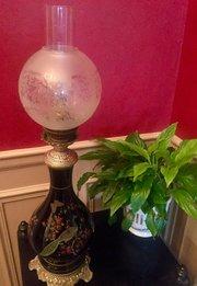 Napoleon III Converted  Lamp Enamelled Faience