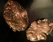 Near Pair Art Nouveau Ashtrays  Vide Poches Copper