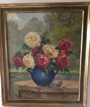 Oil on Board Roses in a Teapot Signed
