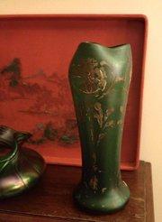 Original Art Nouveau Enamelled Vase Opaline