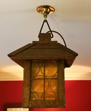 Original Victorian Amber Porch Lantern in Oak