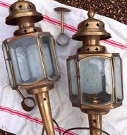 Pair 1800 Coach Lanterns Brass and Etched Glass