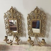 Pair 19 C French Two Branch Bronze Sconces