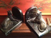 Pair Art Deco Book Ends Bronze Panthers on Marble