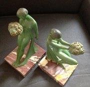 Pair Art Deco Bronze Sculptures Signed  G Limousin