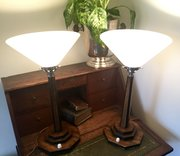 Pair Art Deco  Uplighter Table Lamps Oak and Opali