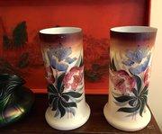Pair Art Nouveau Enamelled Vases Opaline