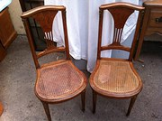 Pair Art Nouveau French Salon Chairs in Walnut