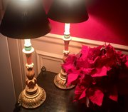 Pair Carved Table Lamps Giltwood