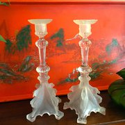 Pair Griffon Val St Lambert Candle Holders