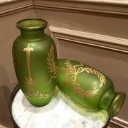 Pair Art Nouveau Green Vases