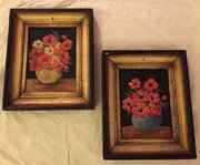 Pair Oil on Board Red Anemones in Vase
