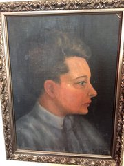 Portrait Young English  Artist Oil on Board 1920
