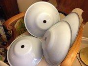 Set of 4 Vintage Enamel Ceiling Shades
