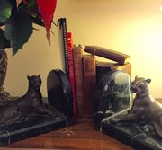 Sitting Proud Pair Art Deco  Bronze Panthers Book ends