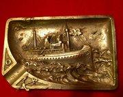 Steamship in High Seas Vide Poche Bronze 1900