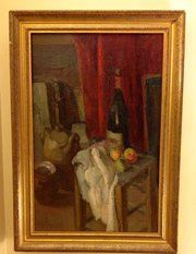 Artist's Studio Oil on Board 1940 French