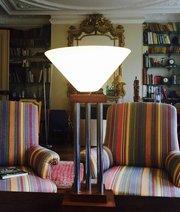 Tall Modernist Desk Lamp Oak Chrome and Opaline