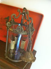 Traditional 1900 French Hall Lantern Bronze