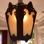 Traditional Art Nouveau French Hall Lantern Bronze
